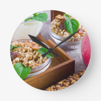 Healthy ingredients for breakfast round clock