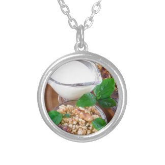 Healthy ingredients for breakfast silver plated necklace