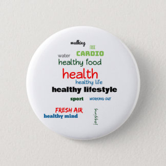 Healthy Lifestyle Word Cloud 2 Inch Round Button