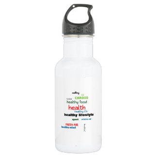 Healthy Lifestyle Word Cloud 532 Ml Water Bottle