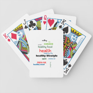 Healthy Lifestyle Word Cloud Bicycle Playing Cards