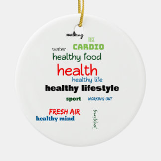 Healthy Lifestyle Word Cloud Ceramic Ornament