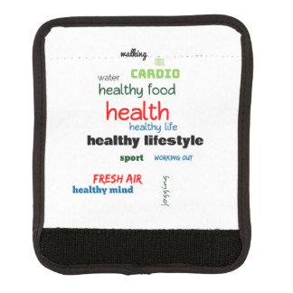 Healthy Lifestyle Word Cloud Luggage Handle Wrap