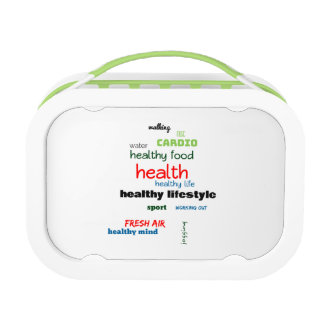 Healthy Lifestyle Word Cloud Lunch Box