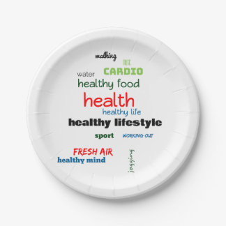 Healthy Lifestyle Word Cloud Paper Plate