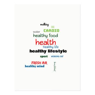 Healthy Lifestyle Word Cloud Postcard