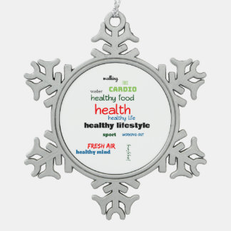 Healthy Lifestyle Word Cloud Snowflake Pewter Christmas Ornament