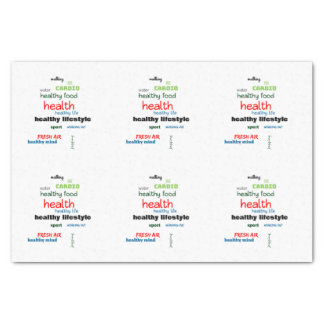 Healthy Lifestyle Word Cloud Tissue Paper