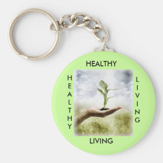 , HEALTHY, LIVING, HEALTHY... - Customized Basic Round Button Keychain
