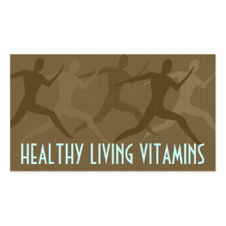 """Healthy Living Vitamins"" Sepia Business Card"