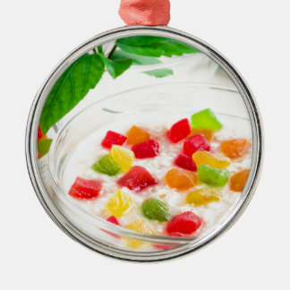 Healthy oatmeal close-up with candied fruit Silver-Colored round ornament
