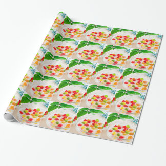Healthy oatmeal close-up with candied fruit wrapping paper