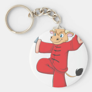 Healthy Ox Doing TaiChi Exercise Basic Round Button Keychain