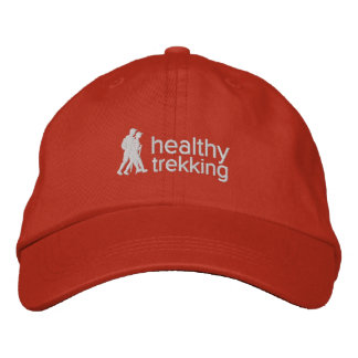 Healthy Trekking White Logo Embroidered Travel Hat Embroidered Baseball Caps