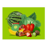 healthy_Vector_Clipart FRUITS VEGETABLES gardening Postcard