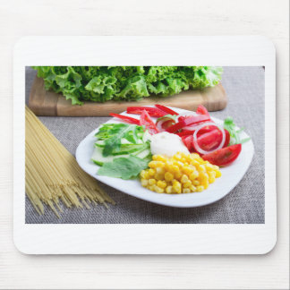 Healthy vegetarian dish of fresh vegetables mouse pad