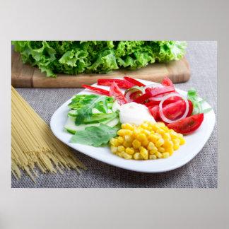 Healthy vegetarian dish of fresh vegetables poster