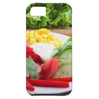 Healthy vegetarian dish on a gray textured fabric iPhone 5 covers