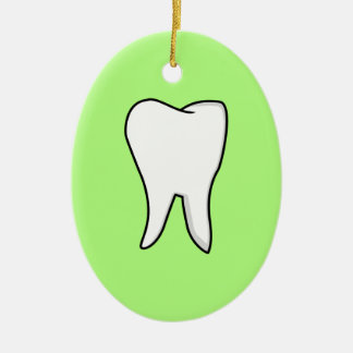Healthy White Tooth Ceramic Oval Ornament
