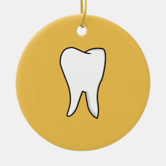 Healthy White Tooth Round Ceramic Ornament
