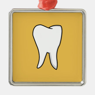 Healthy White Tooth Silver-Colored Square Ornament