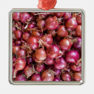 Heap of red onions on market Silver-Colored square ornament