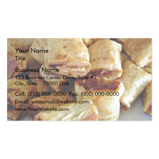 Heaps of sausage rolls business card template