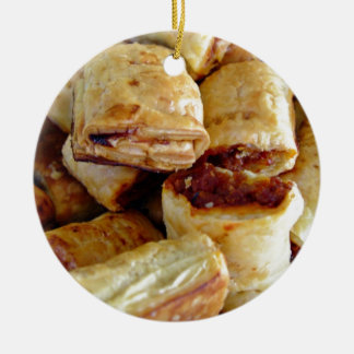 Heaps of sausage rolls ceramic ornament