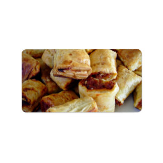Heaps of sausage rolls personalized address label