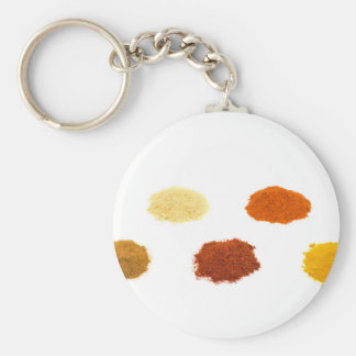Heaps of several seasoning spices on white keychain