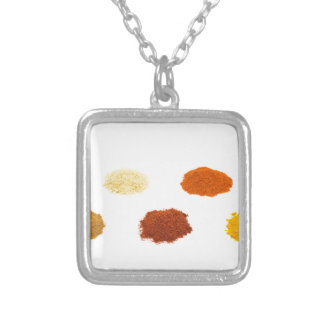 Heaps of several seasoning spices on white silver plated necklace