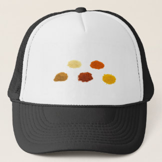 Heaps of several seasoning spices on white trucker hat