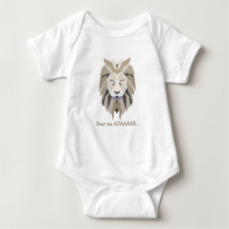 Hear me roar unique Lion polygonal geometric Baby Bodysuit