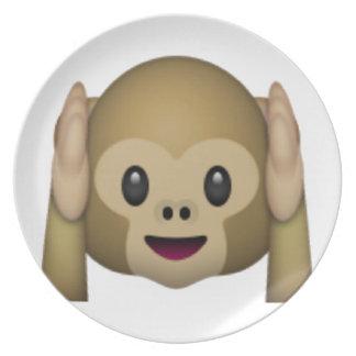 Hear No Evil Monkey - Emoji Dinner Plates