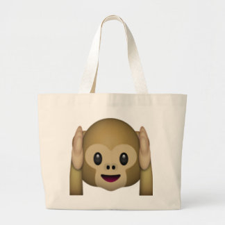 Hear No Evil Monkey - Emoji Large Tote Bag
