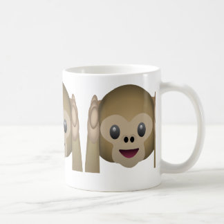 Hear No Evil Monkey Emoji Basic White Mug