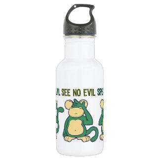 Hear No Evil Monkeys Greens 532 Ml Water Bottle