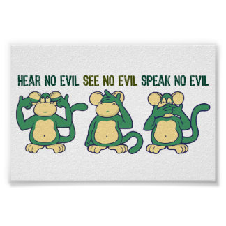 Hear No Evil Monkeys Greens Poster