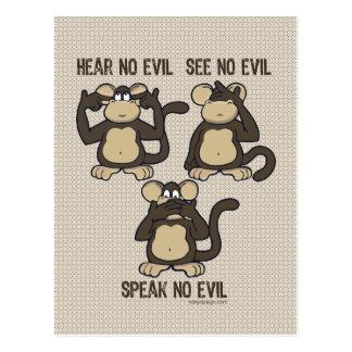 Hear No Evil Monkeys - New Postcard