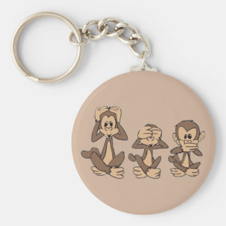 Hear No Evil, See No Evil, Speak No Evil Monkeys Basic Round Button Keychain
