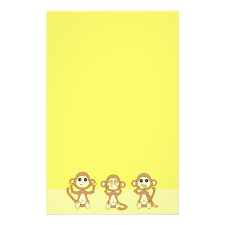 Hear No See No Speak No Evil Yellow Cute Monkeys Custom Stationery