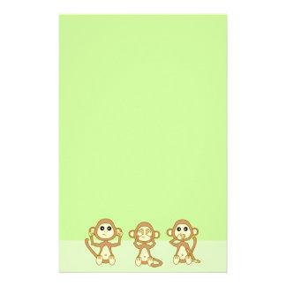 Hear No See No Speak No Evil Yellow Cute Monkeys Stationery