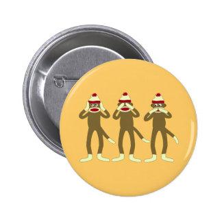 Hear, See, Speak No Evil Sock Monkeys 2 Inch Round Button