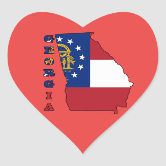 Hear Shaped Sticker with Flag in Map of Georgia