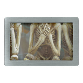 Hear, Speak, See No Evil Skeletons Belt Buckle