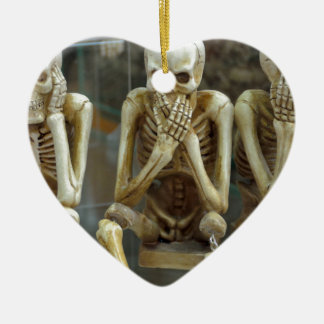 Hear, Speak, See No Evil Skeletons Ceramic Heart Ornament