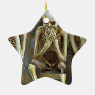 Hear, Speak, See No Evil Skeletons Ceramic Star Ornament