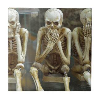 Hear, Speak, See No Evil Skeletons Tile