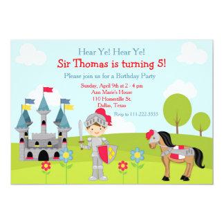 Hear Ye Brunette Cute Knight Birthday Party Card