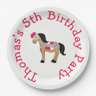 Hear Ye Brunette Knight Horse 9 Inch Paper Plate